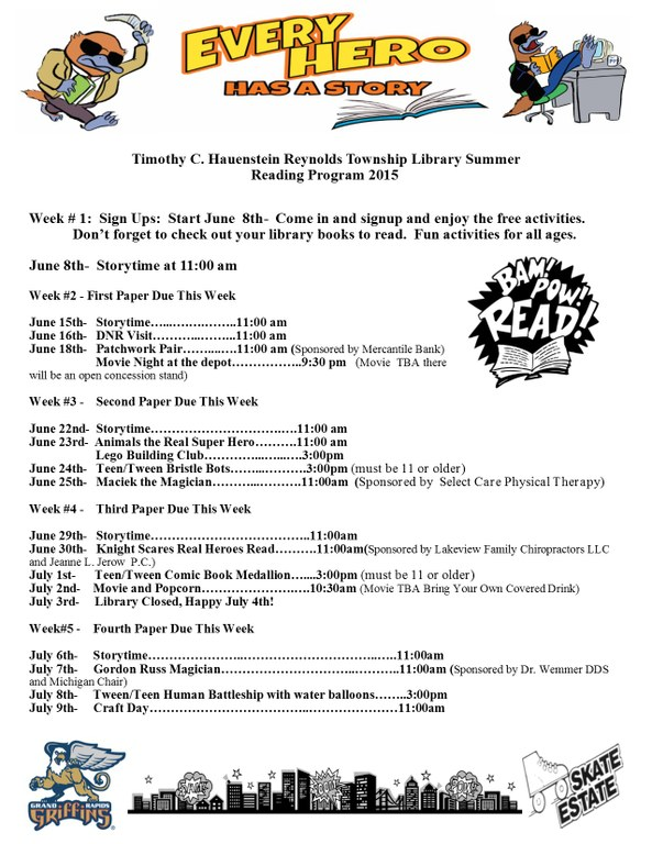 Summer Reading Program Schedule